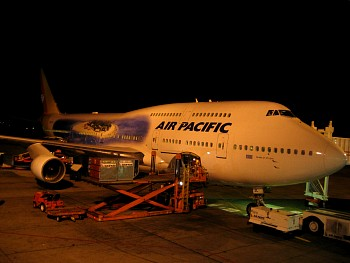 Air Pacific - Boeing 747-800 Jumbo.  Our plane from LAX to Nadi, Fiji