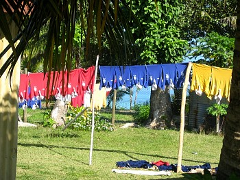Rugby shirts on washing line on Yanuya Island