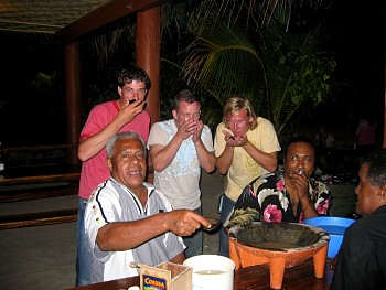 Me and the lads trying some 'Kava' - a local drink that looks and tastes like dishwater.