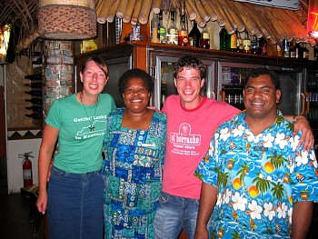 Me and Joo with Peniana and Tui - barstaff on Beachcomber.  They got to know us too well, which is a true sign you've drank too much!